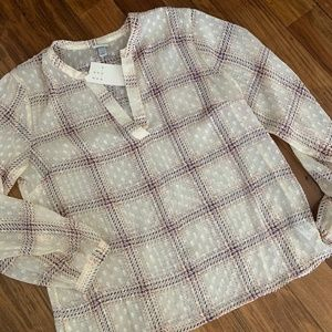 A New Day Plaid Popover Blouse